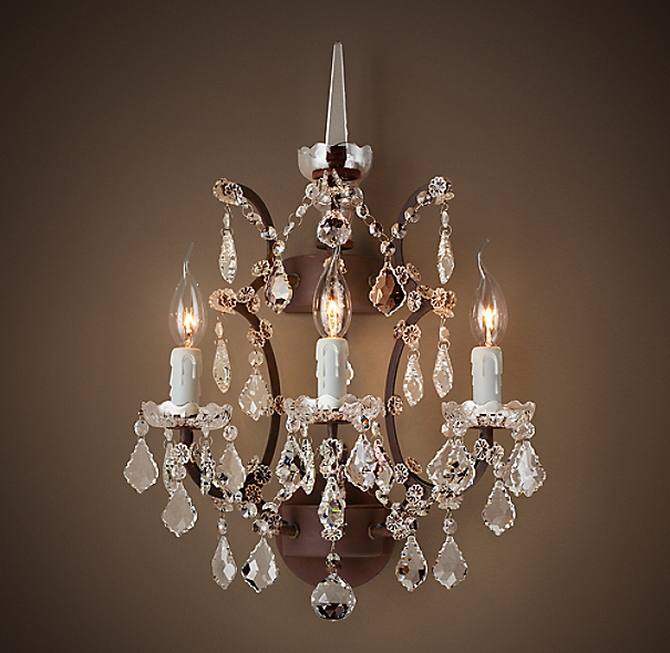 """19th C Rococo Iron & Clear Crystal Sconce 18"""". Deck Designs. Tall Wall Decor. Copper Kitchen Faucets. Unique Kitchen Tables. The Closet Store. Rustic Pool Table Lights. Small Homes. Rice Paper Floor Lamp"""