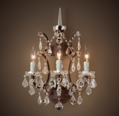 Wall Sconces And Matching Chandeliers : 19th C. Rococo Iron & Clear Crystal Sconce