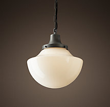 Parisian Architectural Milk Glass Bibliotheque Pendant