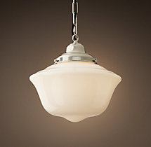 Parisian Architectural Milk Glass Ecole Pendant