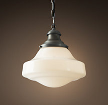 Parisian Architectural Milk Glass Brasserie Pendant
