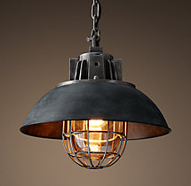European Factory Caged Pendant - Weathered Zinc