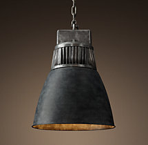 European Factory Fin Pendant - Weathered Zinc