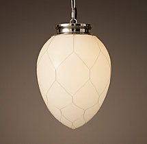 Parisian Architectural Milk Glass Banque Pendant