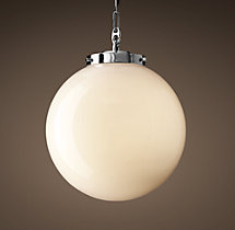 Parisian Architectural Milk Glass Poste Pendant
