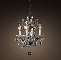 19th C. Rococo Iron & Clear Crystal Round Chandelier 13""