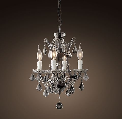 19th C Rococo Iron Clear Crystal Round Chandelier 14