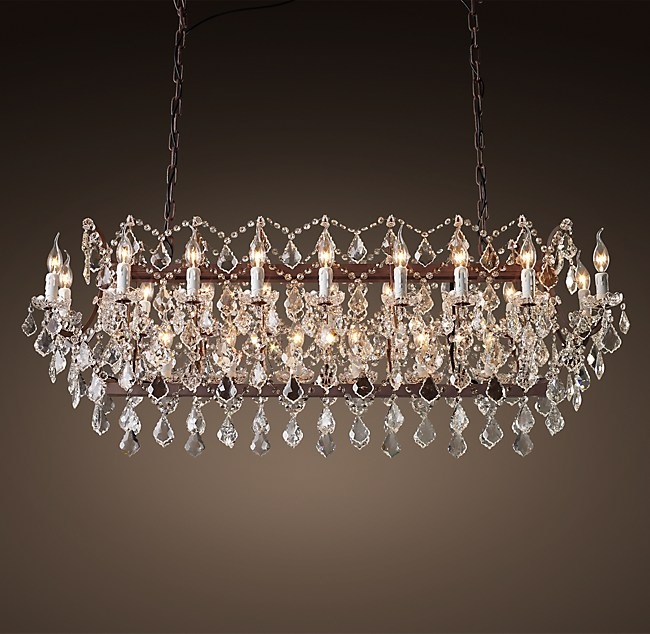 C rococo iron clear crystal rectangular chandelier 63 19th c rococo iron clear crystal rectangular chandelier 63 aloadofball Images