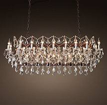 19th C. Rococo Iron & Clear Crystal Rectangular Chandelier 63""