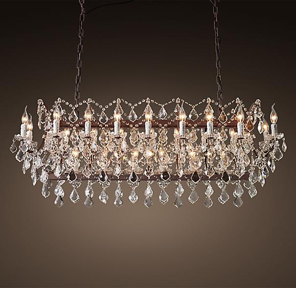 "Rococo Rectangular Chandelier: 19th C. Rococo Iron & Clear Crystal Rectangular Chandelier 63"""