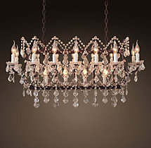 19th C. Rococo Iron & Clear Crystal Rectangular Chandelier 39""