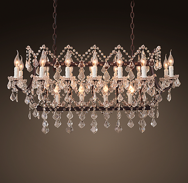 19th C Rococo Iron Amp Clear Crystal Rectangular Chandelier 39 Quot