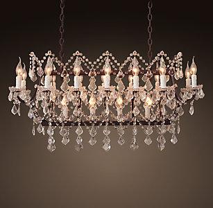 19th C Rococo Iron Clear Crystal Rectangular Chandelier 39
