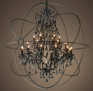 All ceiling rh foucaults orb smoke crystal chandelier 60 mozeypictures Image collections