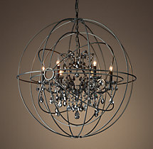 Foucault's Twin-Orb Smoke Crystal Chandelier 41""