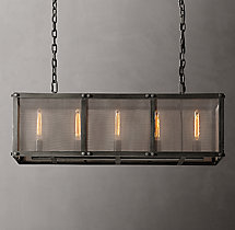 Riveted Mesh Rectangular Chandelier 40""