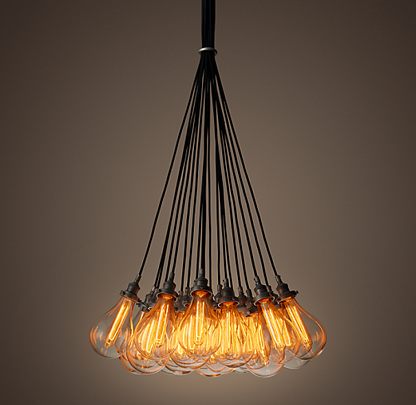 Teardrop Glass Filament 19 Cord Chandelier