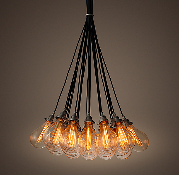 Teardrop Glass Filament 27 Cord Chandelier