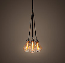 Teardrop Glass Filament 7-Cord Chandelier