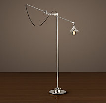 20th C. Factory Filament Metal Floor Lamp