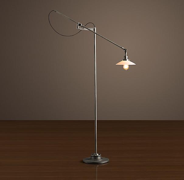 20th C Factory Filament Milk Glass Floor Lamp