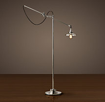 20th C. Factory Filament Reflector Floor Lamp
