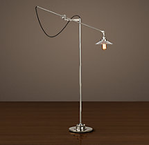 20th C. Factory Filament Ribbed Glass Floor Lamp