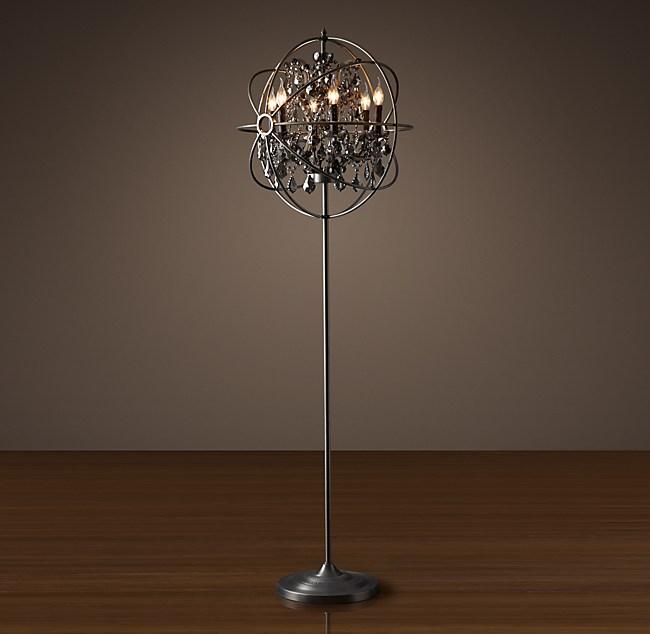 Orb Smoke Crystal Floor Lamp