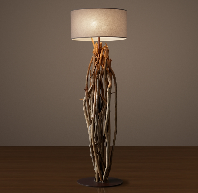 Salvaged Driftwood Floor Lamp