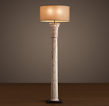 Cast Corinthian Column Floor Lamp - Weathered White
