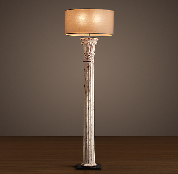 Cast Corinthian Column Floor Lamp Weathered White