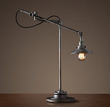 20th C. Factory Filament Metal Shade Task Lamp