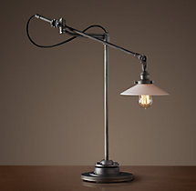 20th C. Factory Filament Milk Glass Task Lamp