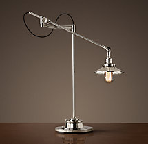 20th C. Factory Filament Reflector Task Lamp