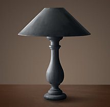 19Th C. French Baluster Table Lamp With Zinc Shade