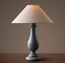19Th C. French Baluster Table Lamp With Linen Shade