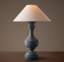 19Th C. French Empire Table Lamp With Linen Shade