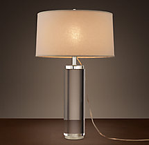 Cylindrical Column Crystal Table Lamp