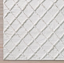 Diamante Flatweave Linen Rug Swatch - White Marled