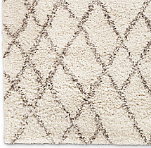 Noura Moroccan High-Pile Wool Rug Swatch - Ivory