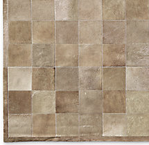 South American Cowhide Tile Rug Swatch - Taupe
