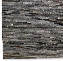 South American Cowhide Stripe Rug Swatch - Charcoal