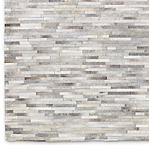 South American Cowhide Stripe Rug Swatch - Steel
