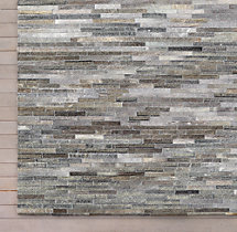 South American Cowhide Stripe Rug Swatch - Grey