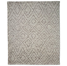 Double Diamond Moroccan Wool Rug - Grey