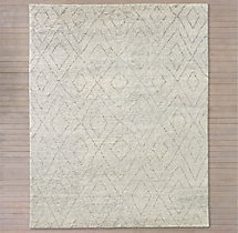 Double Diamond Moroccan Wool Rug - Silver
