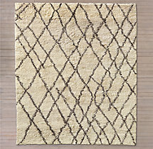 Noura Moroccan High-Pile Wool Rug - Cream