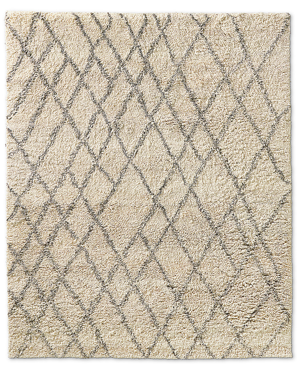 Noura Moroccan High Pile Wool Rug Ivory
