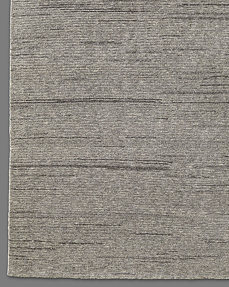 Ribbed Variegated Wool Rug - Grey