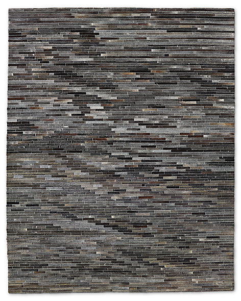South American Cowhide Stripe Rug - Charcoal